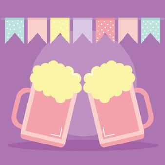Zwei bierkrüge mit einer girlande oben auf lila illustrationsentwurf