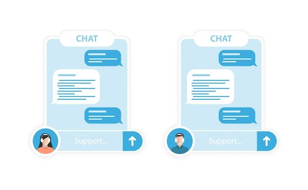 Zwei blaue chats zum schreiben von nachrichten zur unterstützung mit verschiedenen betreibern. weißer hintergrund.