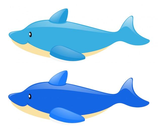 Zwei blaue delphine auf weißem hintergrund
