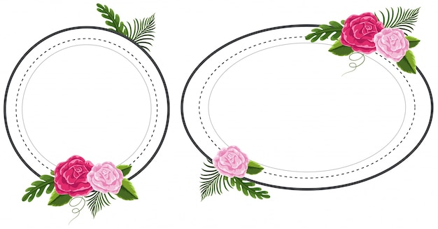 Zwei blumenrahmen mit rosa rosen