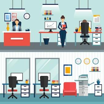 Zwei büro-innenkompositionen mit arbeitgebern und ohne art von arbeitsplatz und schrank