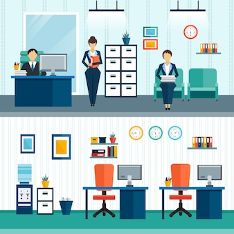 Zwei büro-innenkompositionen mit inneneinrichtung im büro und anordnung der möbel