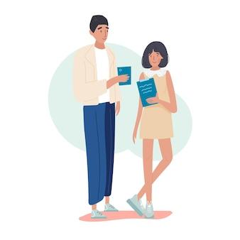 Zwei büroangestellte oder kollegen sprechen miteinander über den job. Premium Vektoren