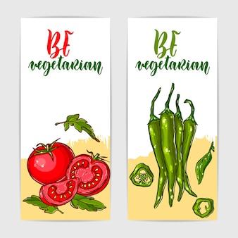 Zwei bunte banner mit gesundem tomaten- und jalapenopfeffer