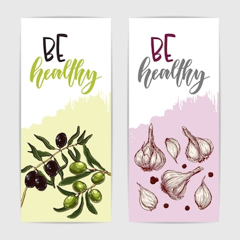 Zwei bunte banner mit gesunden oliven und knoblauch
