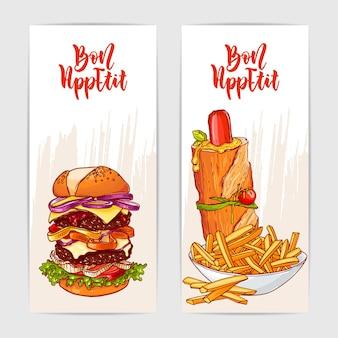 Zwei bunte banner mit leckerem burger