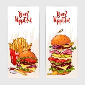 Zwei bunte banner mit leckeren burgern und pommes Premium Vektoren