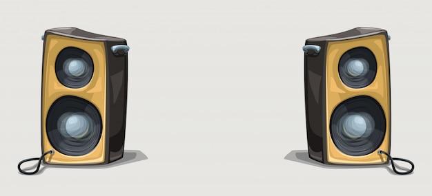 Zwei cartoon-lautsprecher auf breitem hintergrund