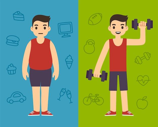 Zwei cartoon-männer, die die gleiche sportkleidung tragen, einer mollig und der andere schlank