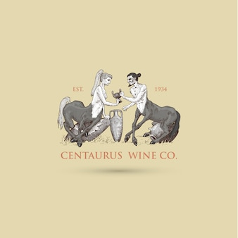 Zwei centaurus, die weinlogoillustration teilen, handgezeichnete oder eingravierte alt aussehende fantastische, märchenhafte bestien halber mann mit pferdekörper, griechische mythologie