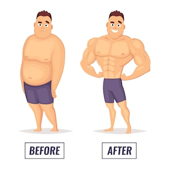 Zwei charaktere fett und muskulöser mann.