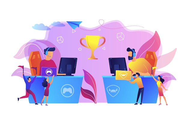 Zwei cyber-sportler an computern, die um eine trophäe kämpfen, und fans, die mit flaggen jubeln. e-sport-fans, computerspiel-fan, e-sport-fanclub-konzept.