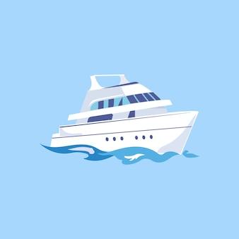 Zwei-deck-schiff auf dem wasser.
