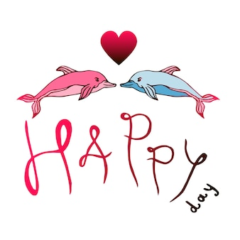 Zwei delphine lieben mit glücklichem tag der beschriftung. valentinsgruß-tagesvektor-karikaturillustration