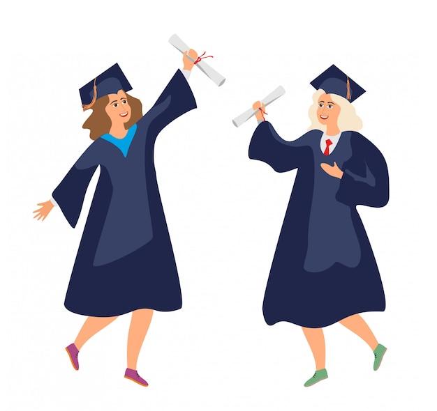 Zwei doktoranden in roben mit diplom freuen sich. abschluss des college. universitätsabsolventin