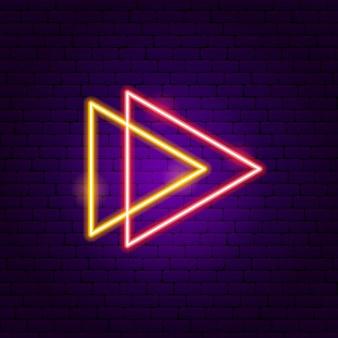 Zwei dreieck-pfeil-leuchtreklame. vektor-illustration der richtungsförderung.