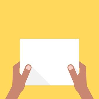 Zwei dunkelhäutige hände, die weißes blatt halten. konzept der ankündigung, einladung, überschrift, checkliste, büronotiz, show, ui, test. flat style trend modernes design-vektor-illustration auf gelbem hintergrund
