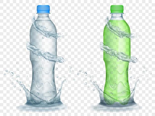 Zwei durchscheinende plastikflaschen in grauen und grünen farben mit wasserkronen und spritzern, einzeln auf transparentem hintergrund. transparenz nur im vektorformat