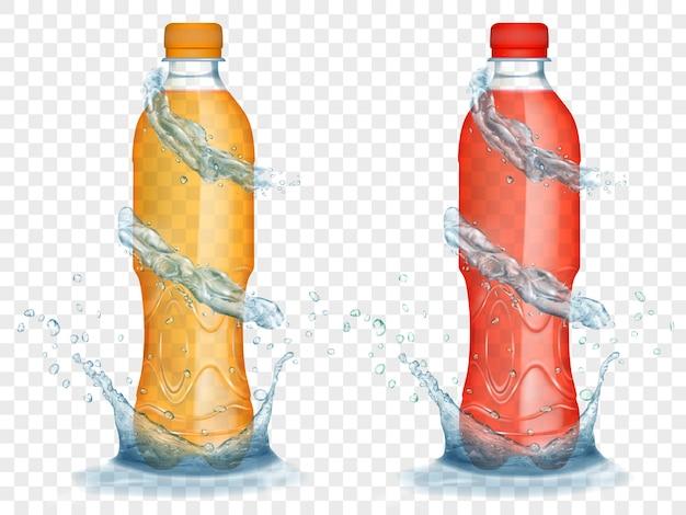Zwei durchscheinende plastikflaschen in orangen und roten farben mit wasserkronen und spritzern, einzeln auf transparentem hintergrund. transparenz nur im vektorformat