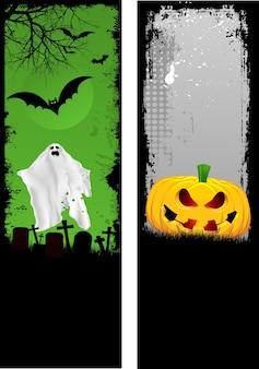 Zwei entwürfe von grunge-halloween-bannern