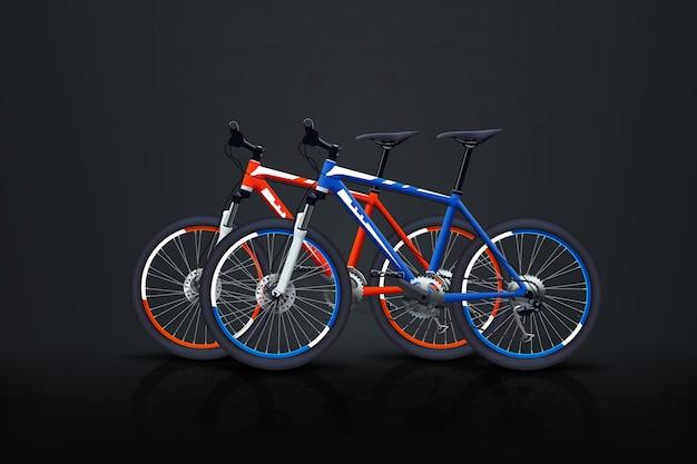 Zwei fahrräder im dunkeln