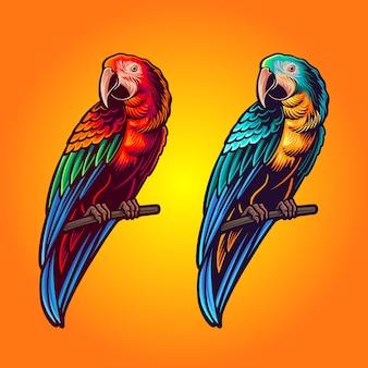 Zwei farben der papageienillustration am satz