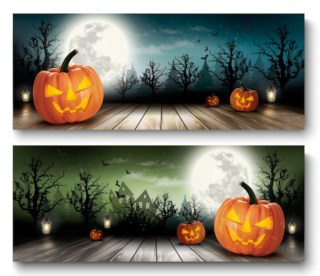 Zwei feiertags-halloween-hintergründe mit kürbissen und mond. vektor