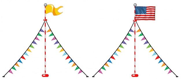 Zwei flaggendesigns mit bunten dreiecken
