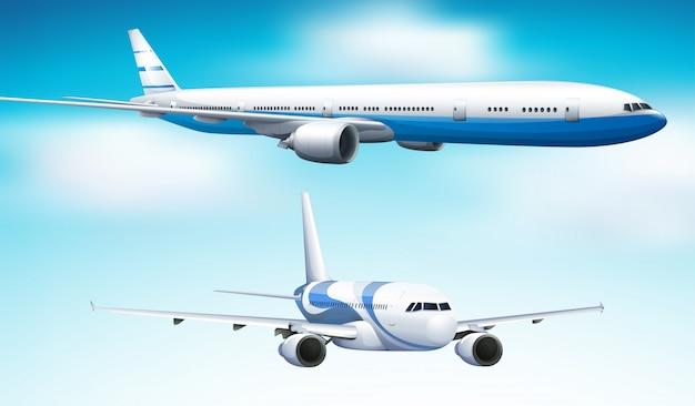 Zwei flugzeuge, die in hintergrund des blauen himmels fliegen