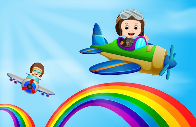 Zwei flugzeuge fliegen über regenbogen