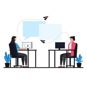 Zwei frauen auf dem stuhl senden die nachrichtenmetapher der online-konversation.