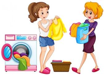 Zwei Frauen, die Wäsche waschen