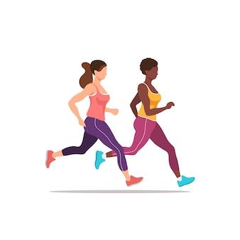 Zwei frauen trainieren beim joggen. gesundheit und fitness. illustration.