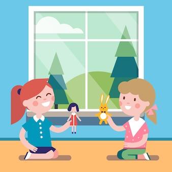 Zwei freunde spielen mit spielzeugpuppen zusammen