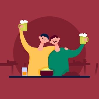 Zwei freunde umarmten und hoben gläser mit bier. flache cartoon-vektor-farbe-illustration.