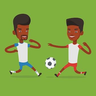 Zwei fußballspieler, die um ball kämpfen.
