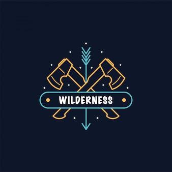 Zwei gekreuzte achsen. bushcraft camp logo. überleben wilder wälder. linienstilillustration.