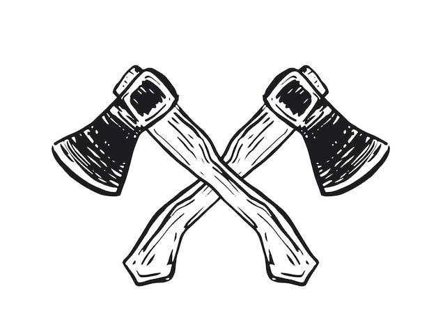 Zwei gekreuzte axt handgezeichnete illustration