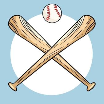 Zwei gekreuzte baseballschläger und ball, ikone trägt logo zur schau