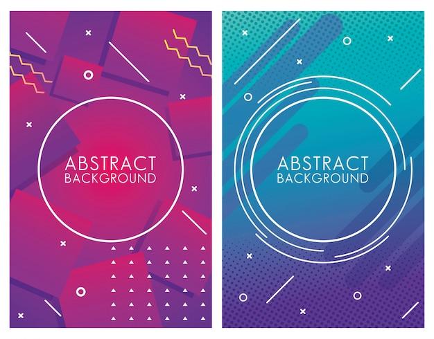 Zwei geometrische bunte abstrakte hintergründe