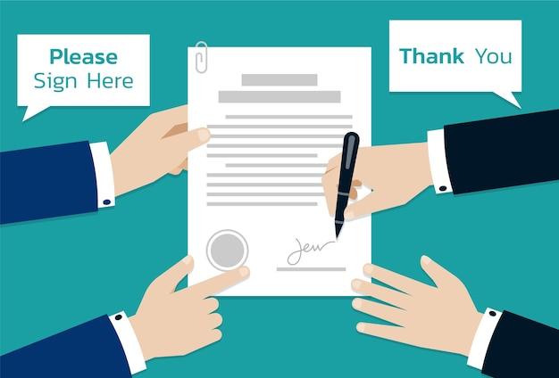 Zwei geschäftsleute, die auf vertragsdokumentpapier, geschäftskonzept der partnerschaft oder der kooperation unterzeichnen