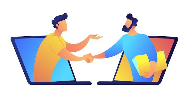 Zwei geschäftsleute, die durch laptop-bildschirmvektorillustration sprechen.