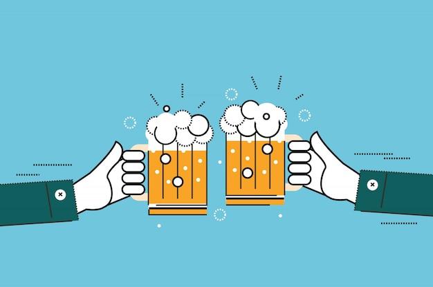 Zwei geschäftsleute, die gläser bier trinken. business erfolgreich und partnerschaftskonzept. flache dünne linie design-elemente. vektor-illustration