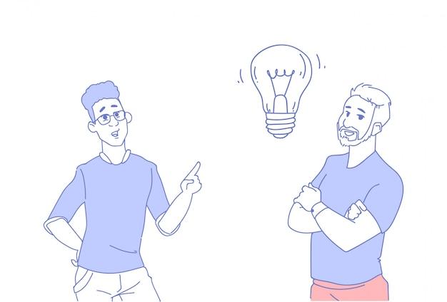 Zwei geschäftsleute, die neue idee der hellen lampe gedanklich lösen