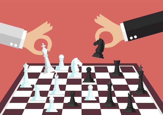 Zwei geschäftsleute, die schach spielen