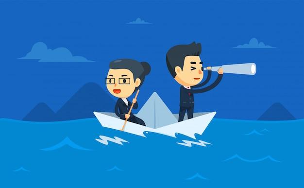 Zwei geschäftsleute fahren auf einem papierboot. vektor-illustration