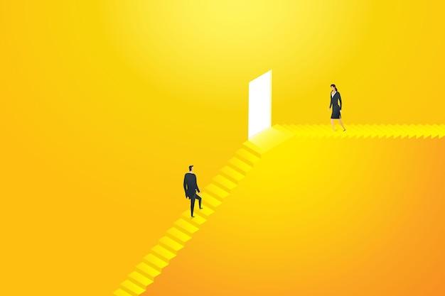 Zwei geschäftsleute gehen die treppe zur tür zum ziel hinauf