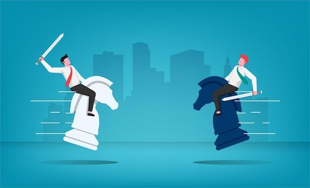 Zwei geschäftsleute mit schwertcharakter kämpfen um den champion, der auf schachpferdesymbol reitet. illustration der geschäftsstrategie