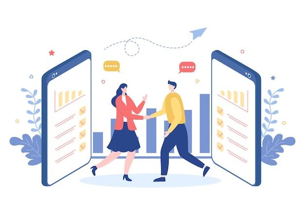 Zwei geschäftsleute schließen als erfolgreiche partner einen deal oder eine vereinbarung, indem sie sich beim kooperationsvertrag die hand schütteln. hintergrund-vektor-illustration