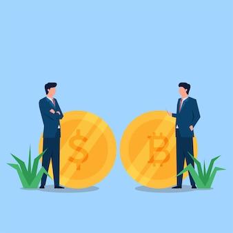 Zwei geschäftsleute sprechen über geld und bitcoin